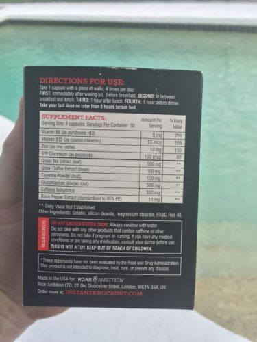 instant knockout ingredients list label