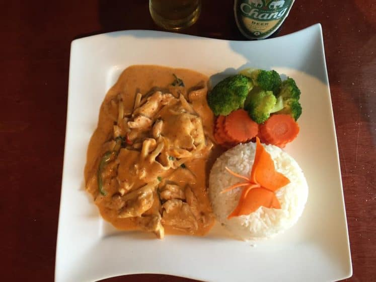 Panang curry with chicken thai food