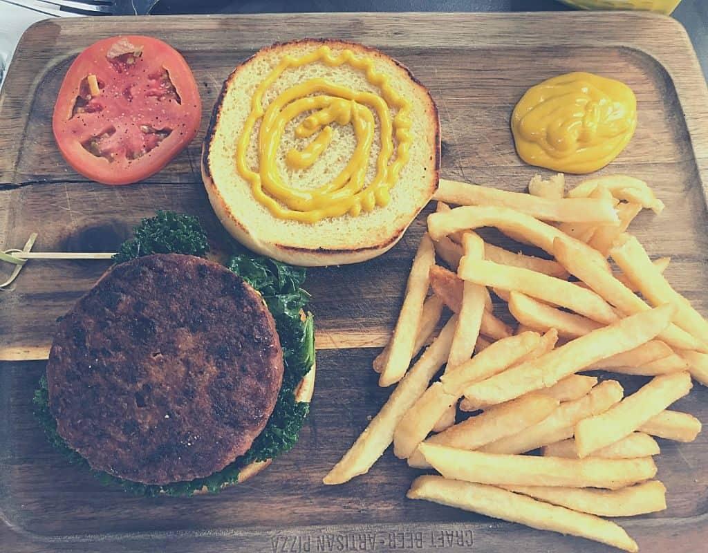 Vegan plant-based burgers with fries