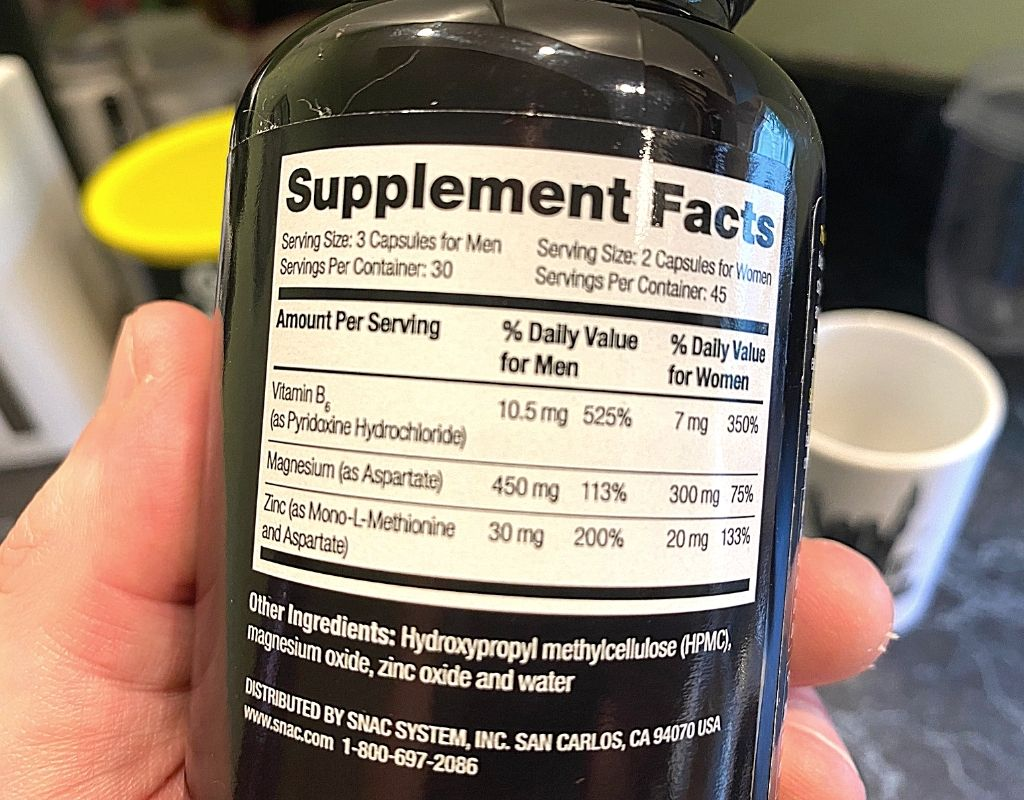 Snac ZMA ingredients