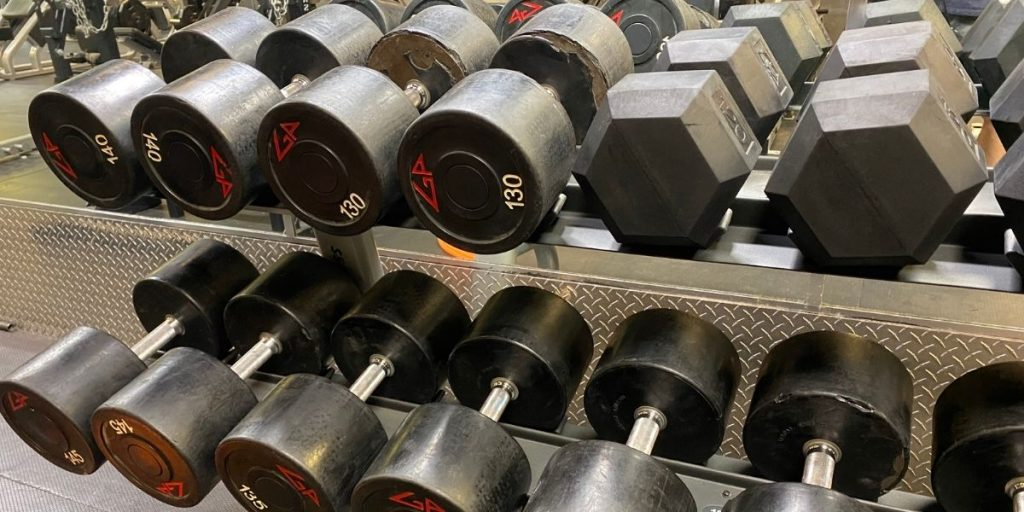 heavy dumbbells on rack