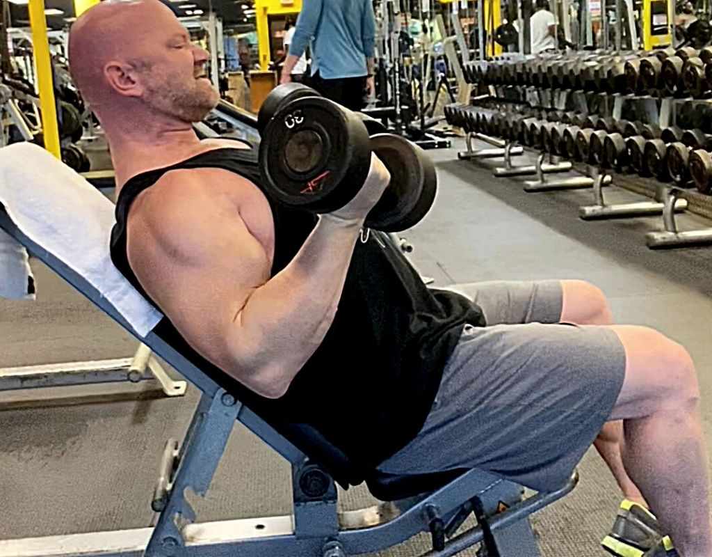 Seated incline curls biceps exercises